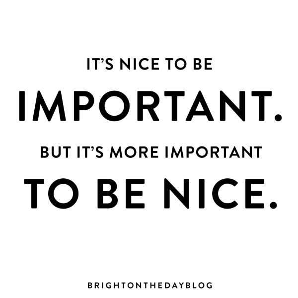 Being nice quotes its nice to be important brightontheday