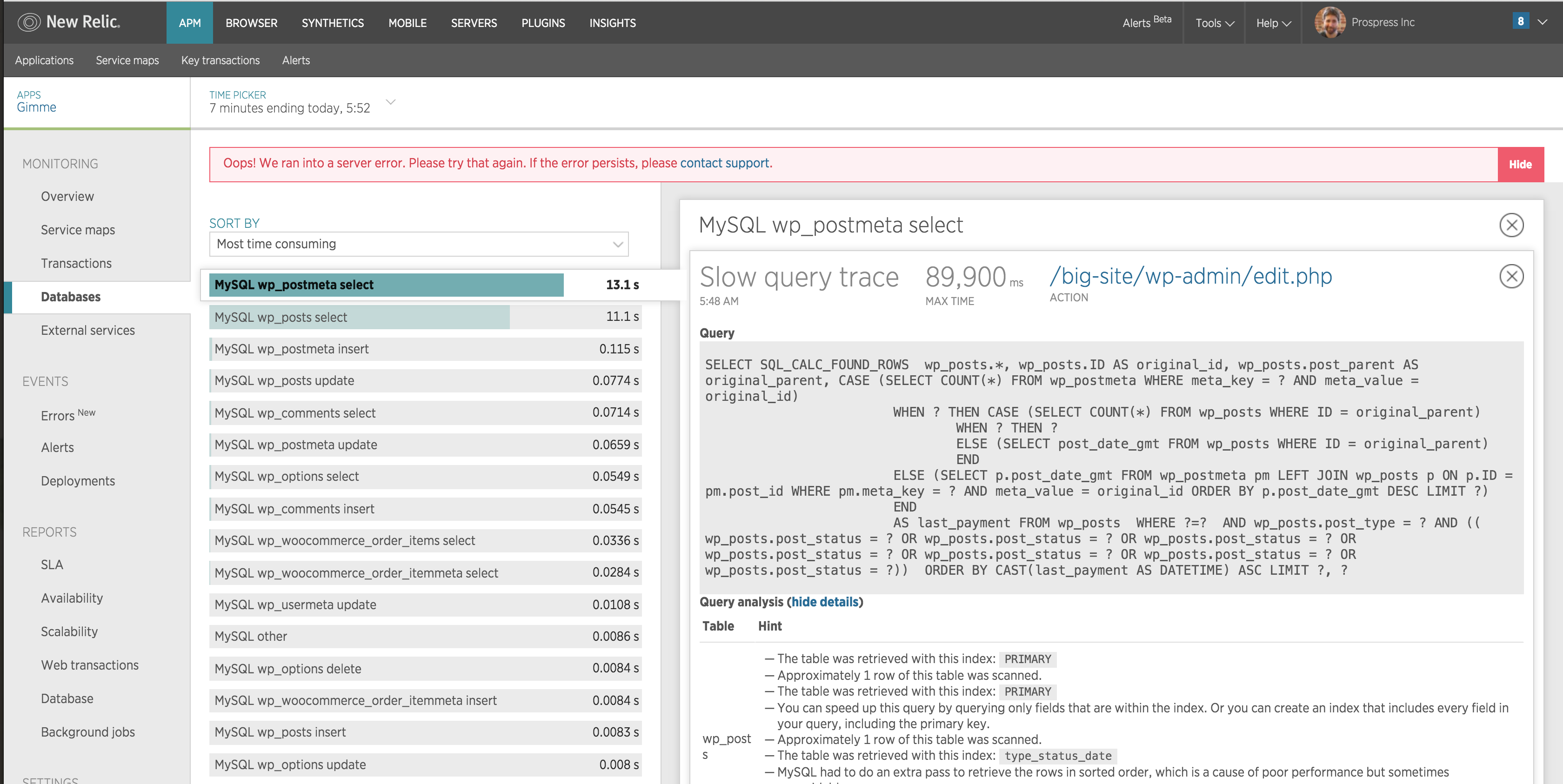 long query new relic