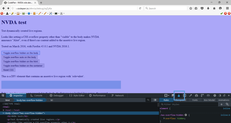 36289 (WP Speak assertive message and Firefox + NVDA bug