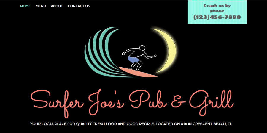 Surfer Joe s Pub Grill your local place for QUALITY Fresh Food and Good People Located on A1a in crescent beach FL