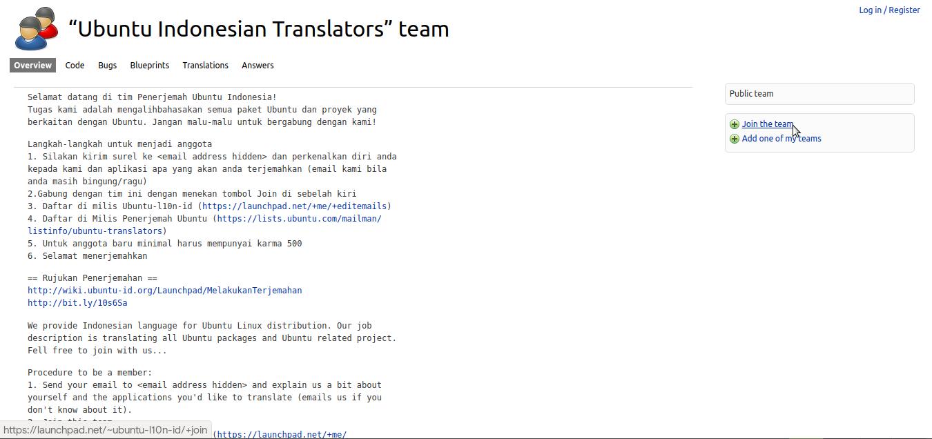 Laman tim penerjemah Indonesia Ubuntu di Launchpad
