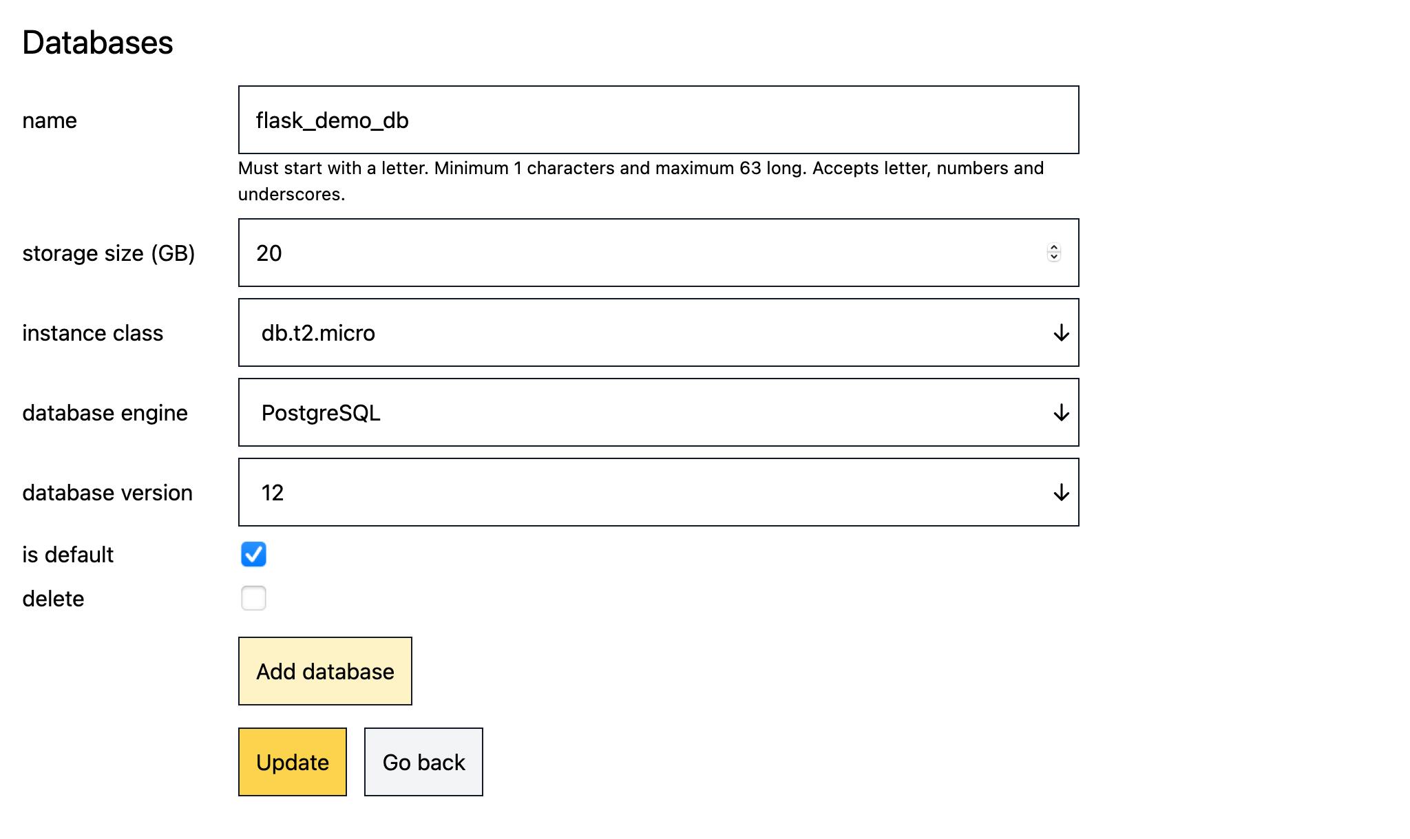 Create a Postgres database