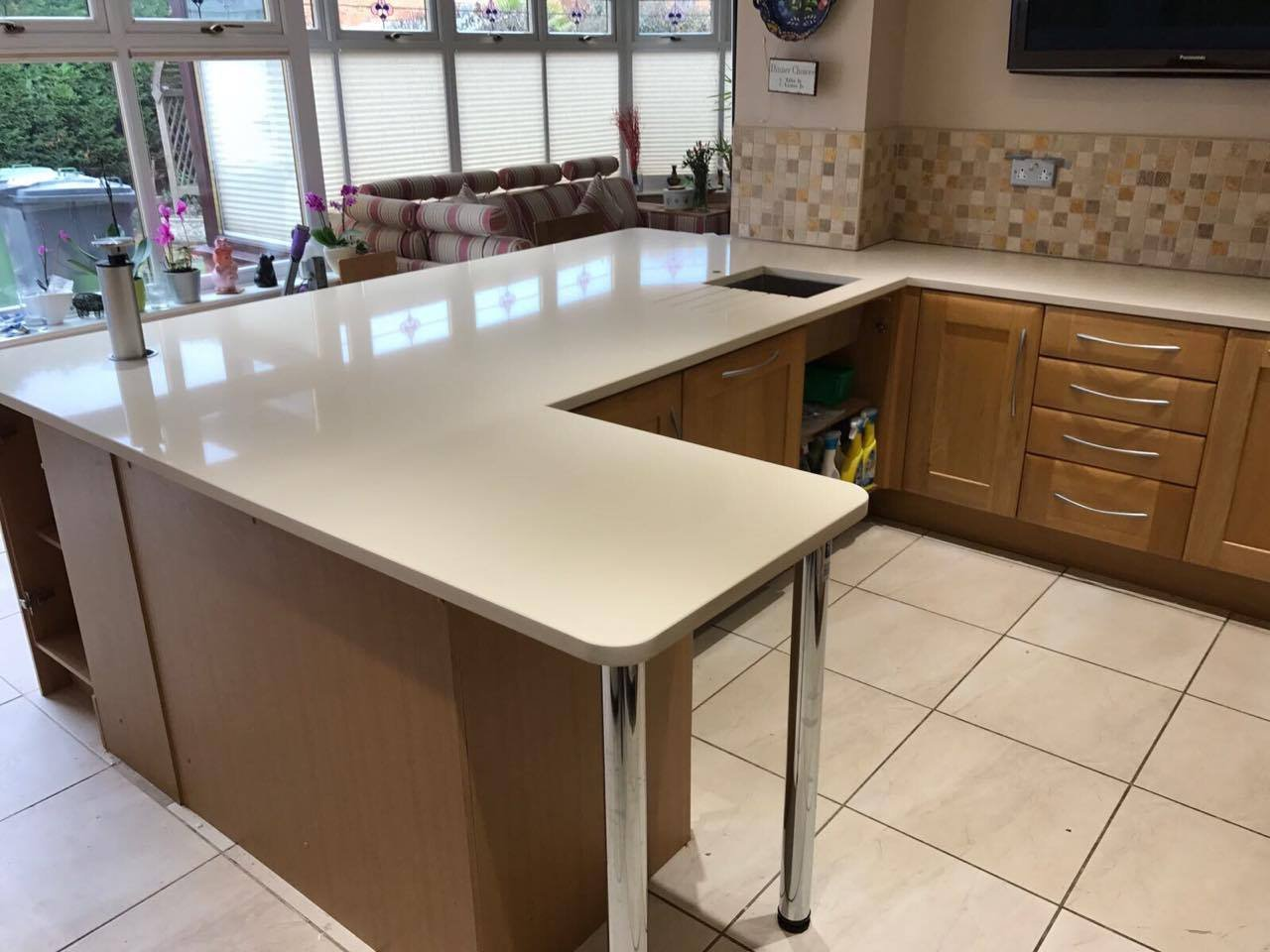 Cream Marble Worktop Granite Quartz Kitchen Worktops Full