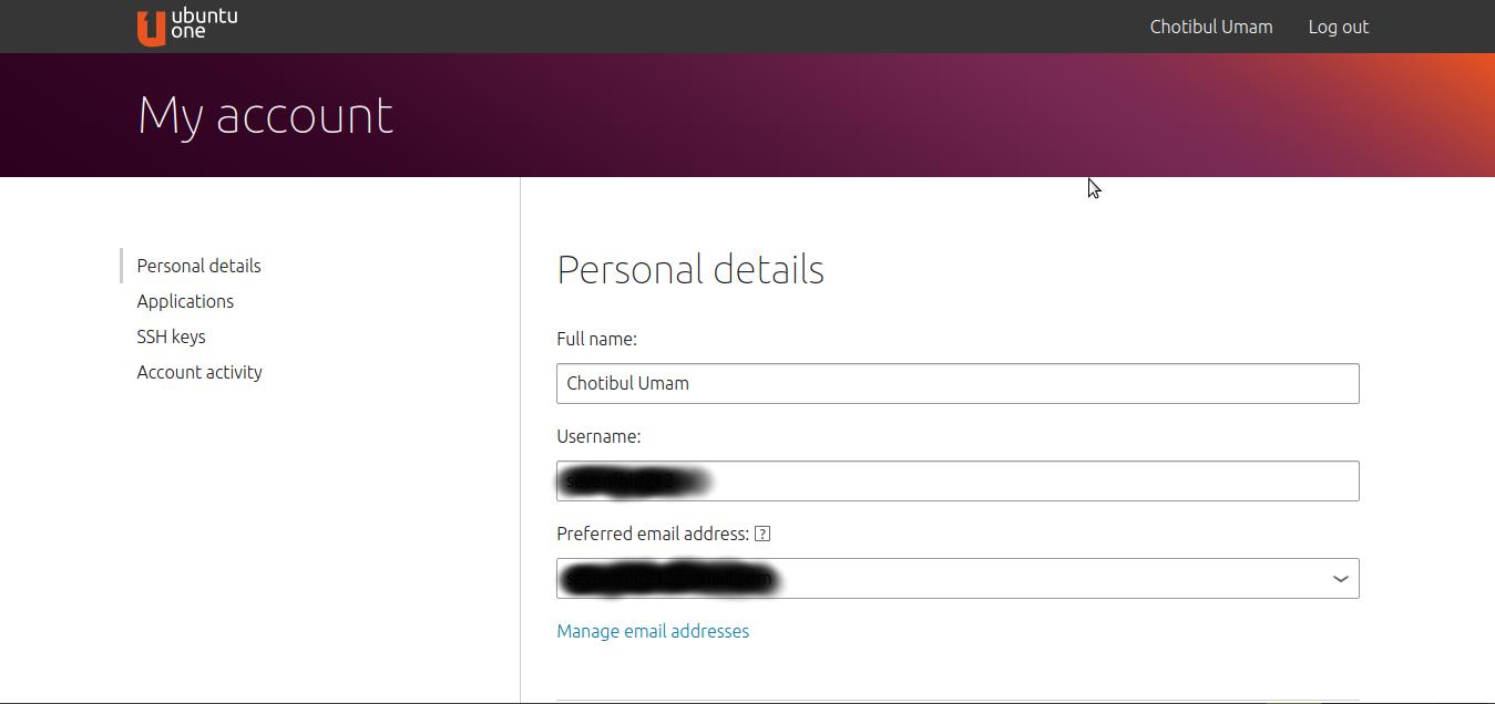Halaman utama Ubuntu One setelah berhasil login