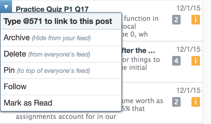 Hover over a question in the sidebar to get its reference number