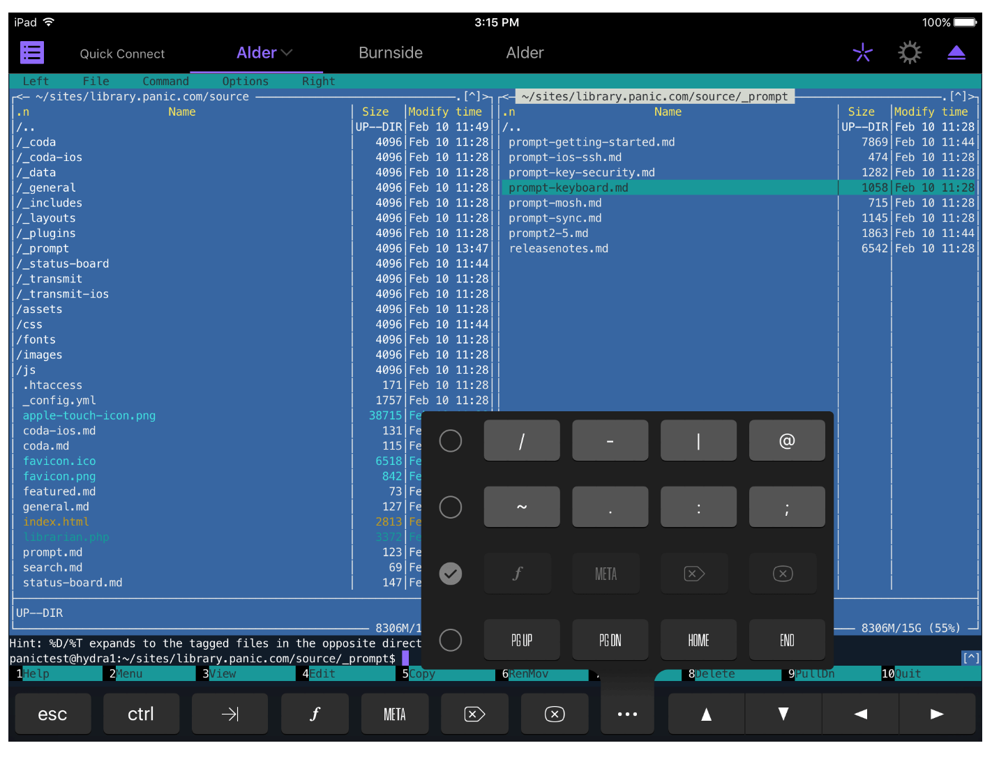 Panic keyboard screenshot