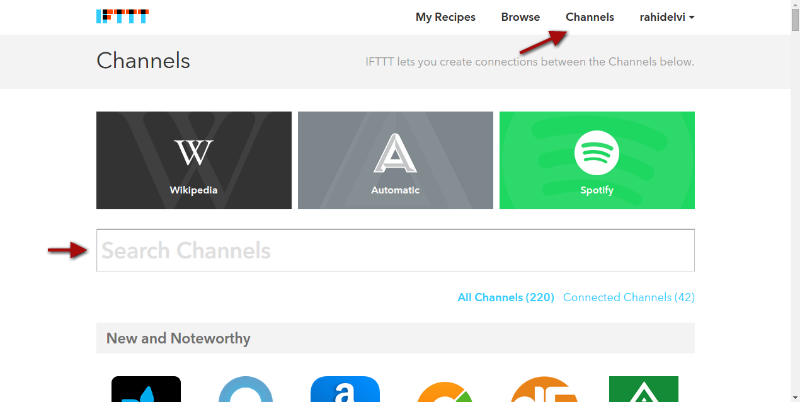 Add IFTTT Channels