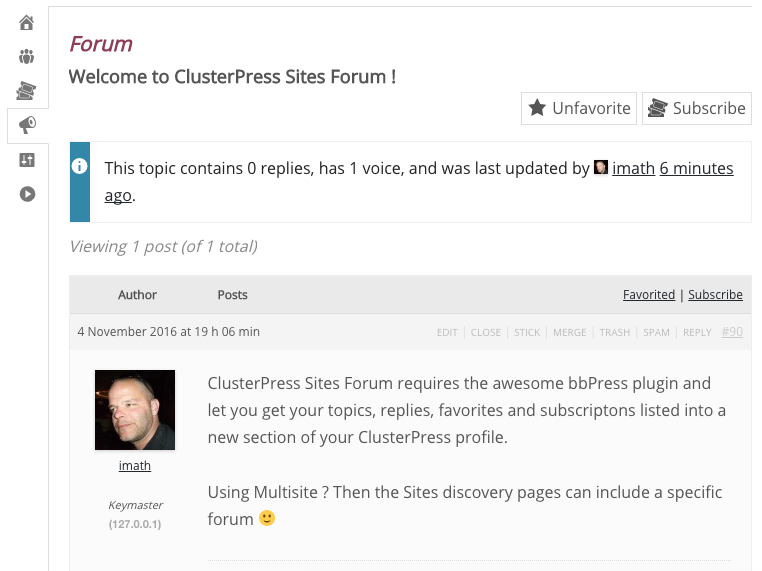 A topic inside the Forum section of a Site.