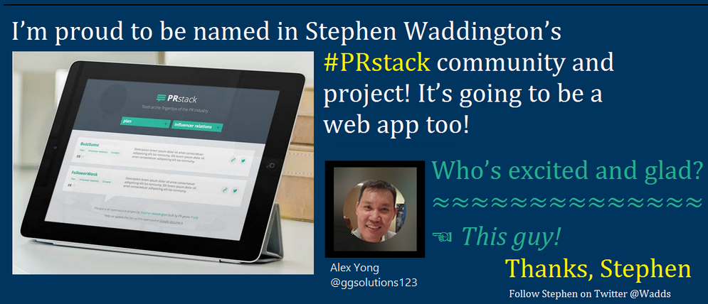 Proud to be in the PRstack community and project created by Stephen Waddington