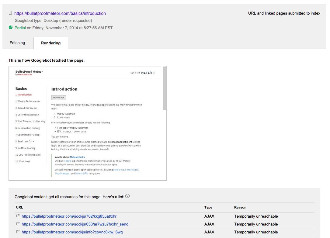 BulletProof Meteor inside Google WebMaster Tools