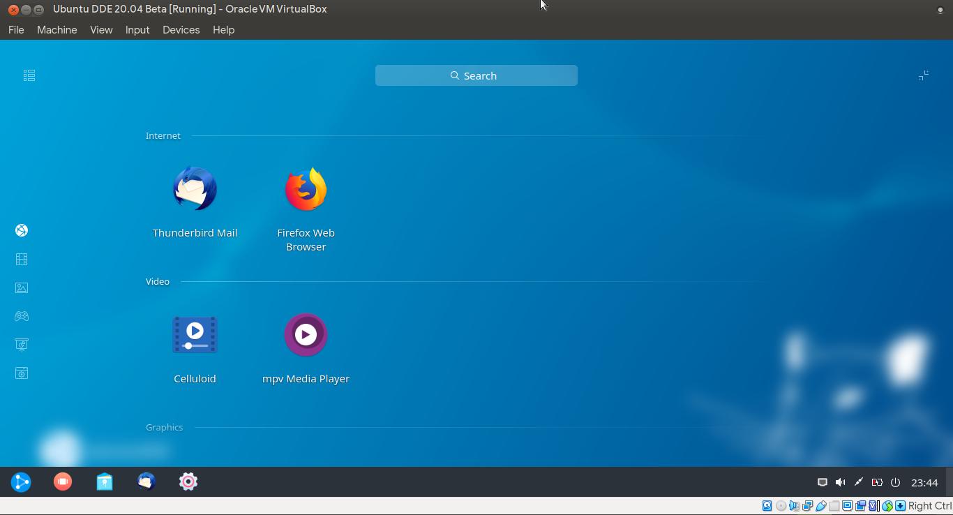 Launcher ubuntuDDE layar penuh sesuai kategori aplikasi