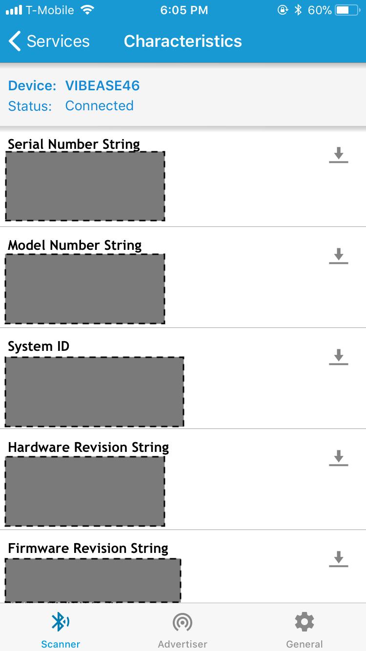 Ascreencaptureof the Device Information service on aVibease.