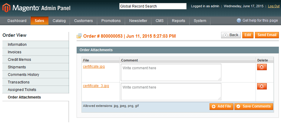 Order edit page