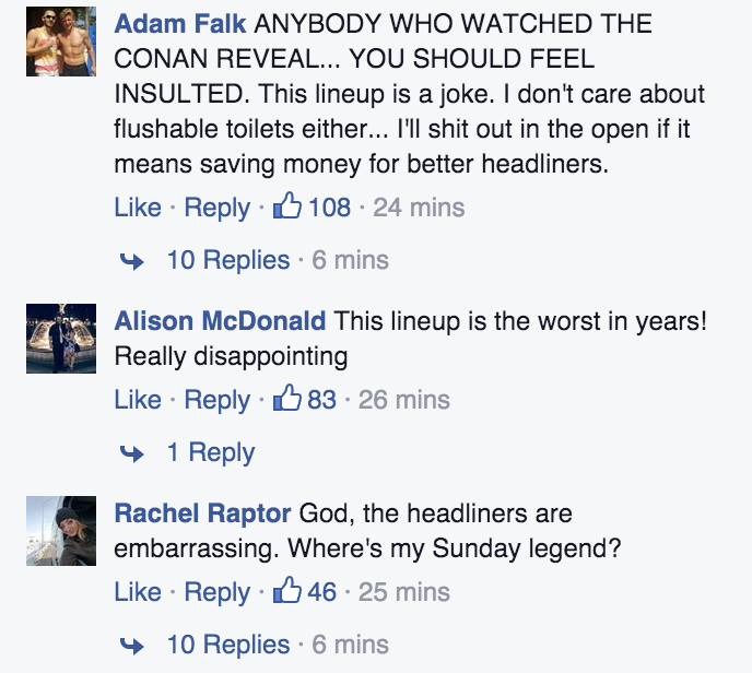 Facebook reaction of Bonnaroo 2016 lineup