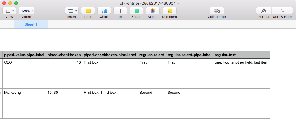 Storage for Contact Form 7 export in Apple Numbers