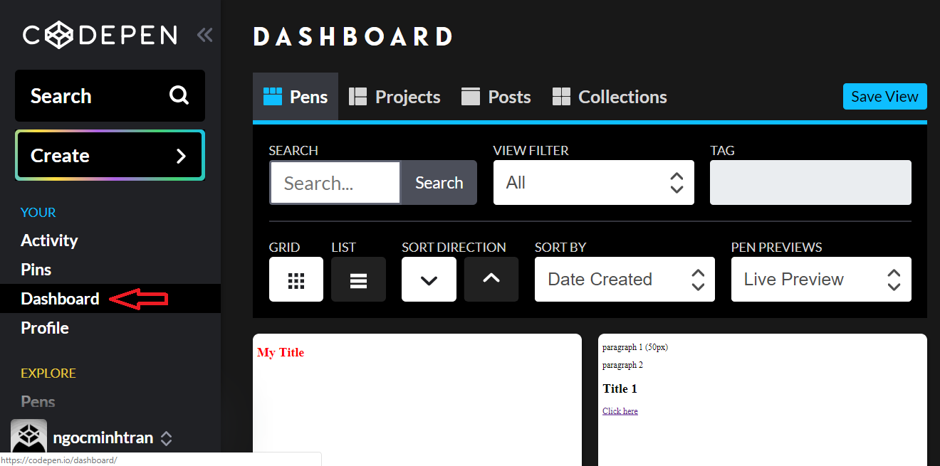 Codepen Dashboard