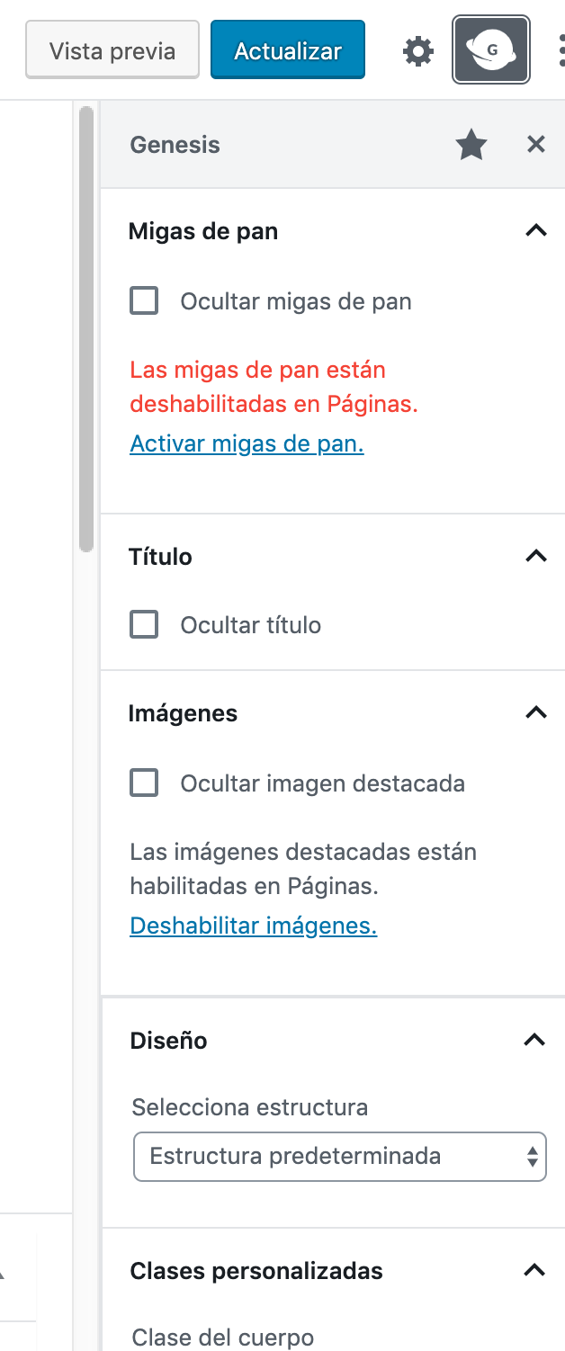 The Genesis sidebar with translations in Spanish.