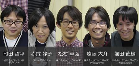 デザイナーとプログラマーの紹介画像。左から町田、赤塚、松村、遠藤、前田の順。