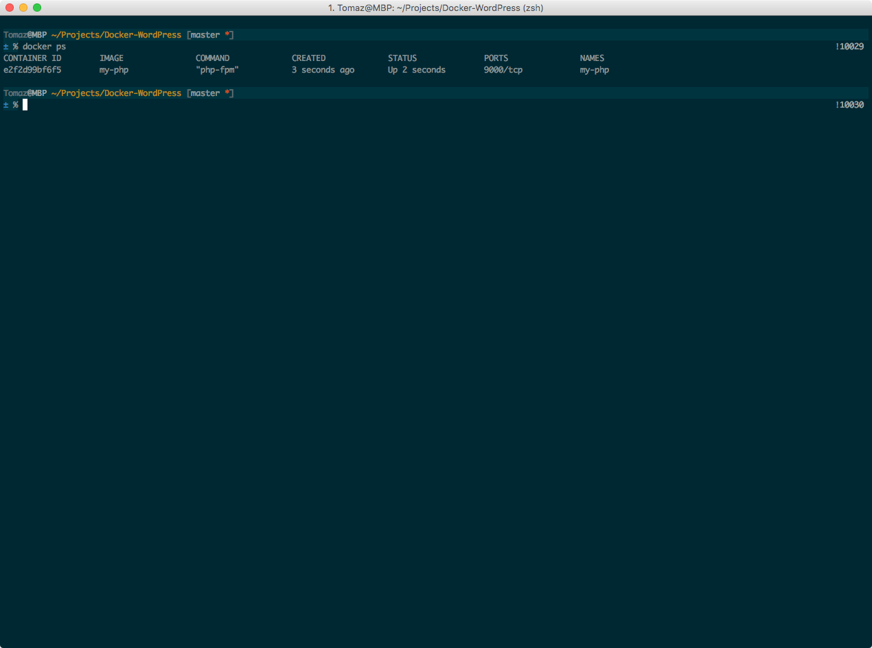 Screenshot of running container process