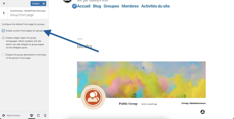 BP Nouveau Group Front Page settings