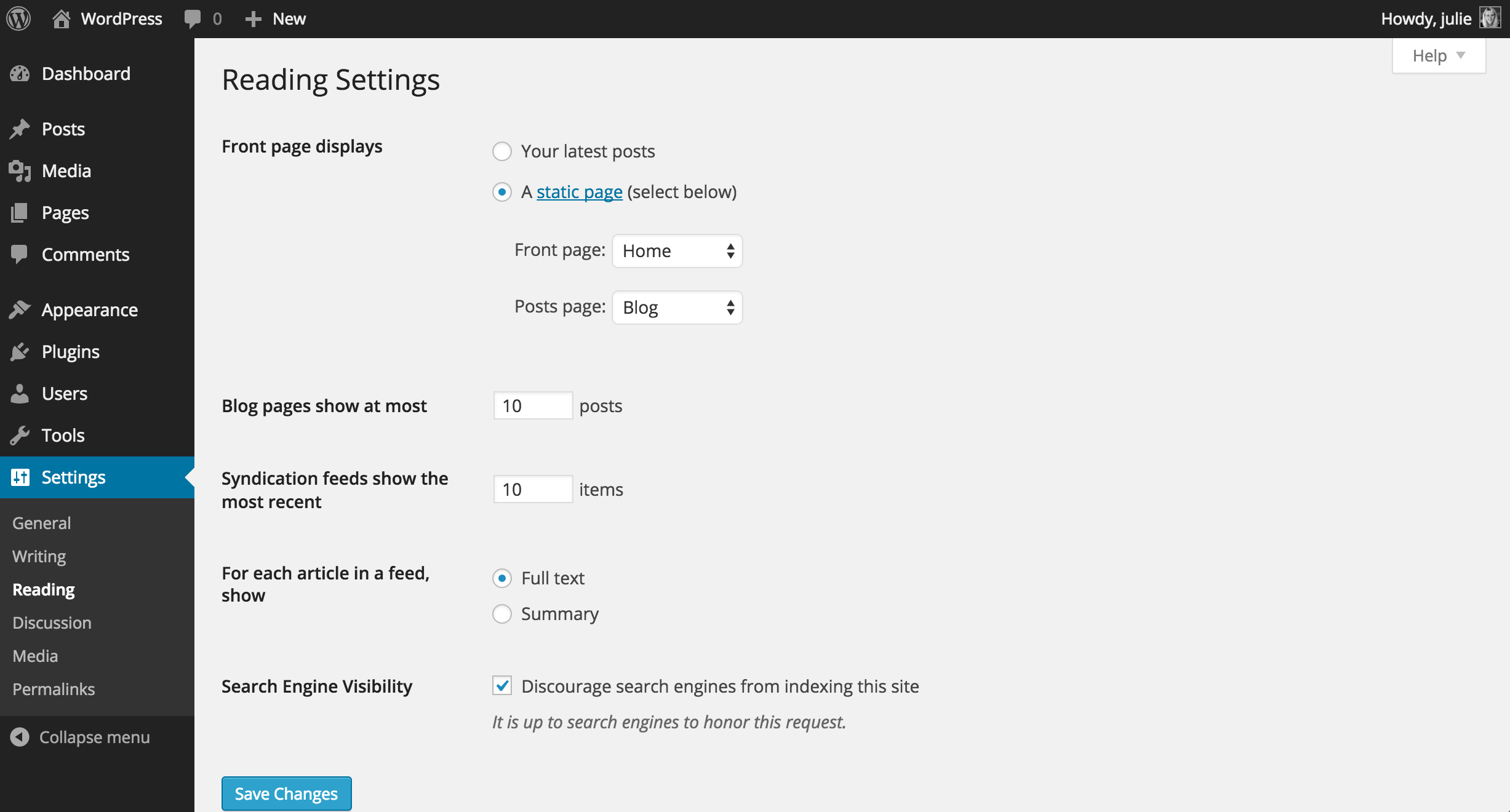 WordPress Reading Settings Screen