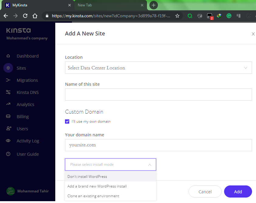 Create WordPress Site with Kinsta