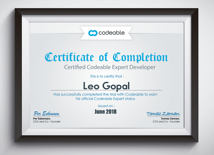 Codeable Certificate of Leo Gopal