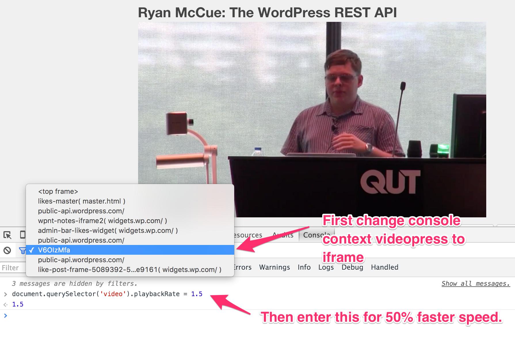 Increasing playbackRate of videos on WordPress TV