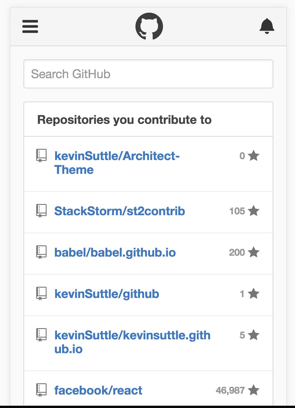 GitHub mobile - dashboard