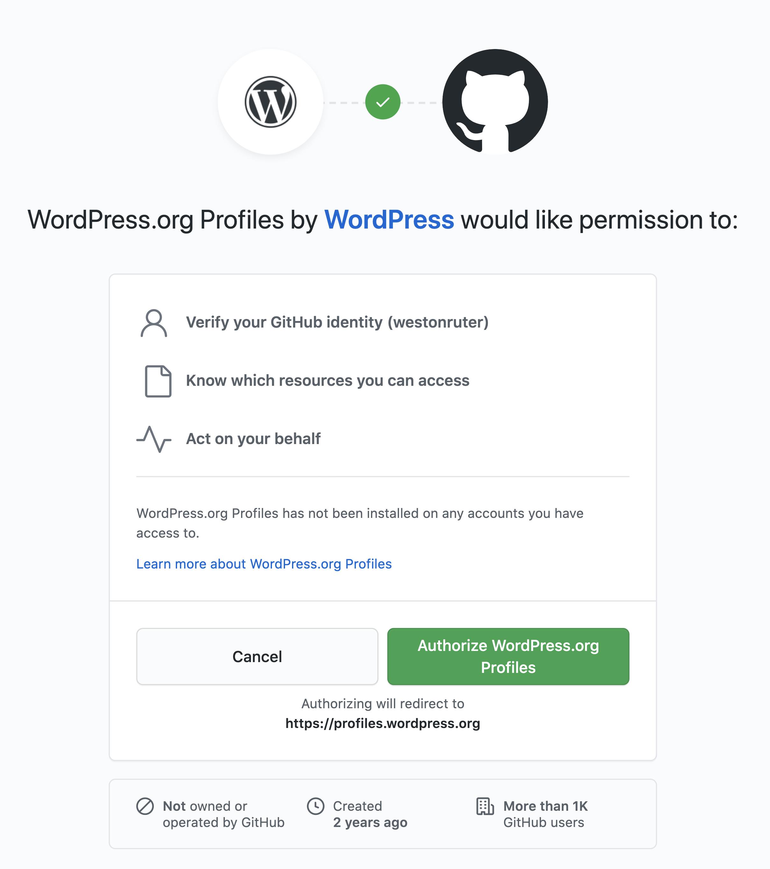 WordPress.org Profiles by WordPress would like permission