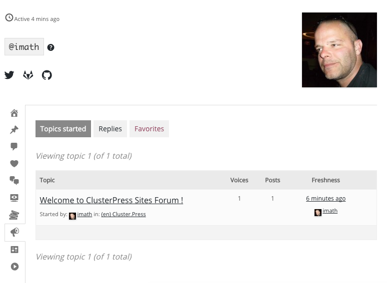 The forum section of the ClusterPress user profile.