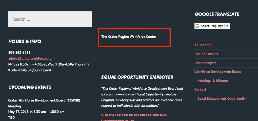 The Crater Region Workforce Centers