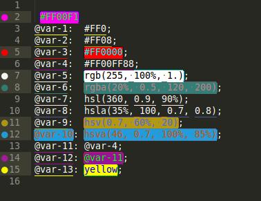 подсветка цвета в коде