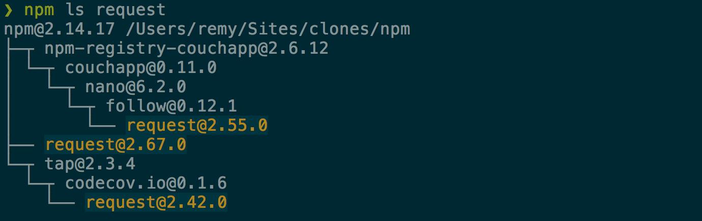 npm ls output