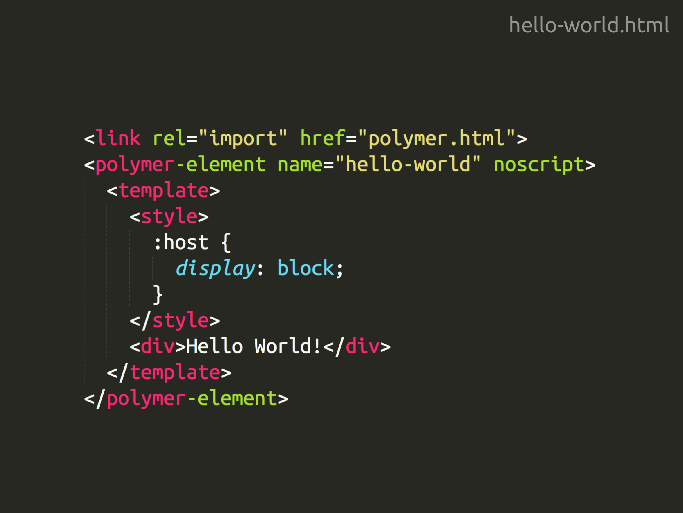 Hello World com Polymer