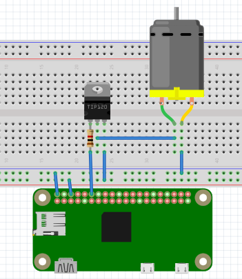 Npn transistor and dc motor gpio18 raspberry pi forums for Dc motor raspberry pi