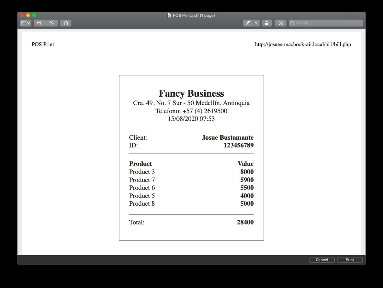 """POS - Bill printed on PDF"""