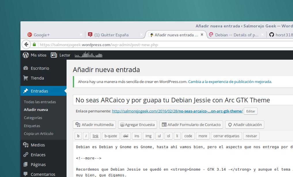 No seas ARCaico y pon guapa tu Debian Jessie Gnome con Arc GTK Theme