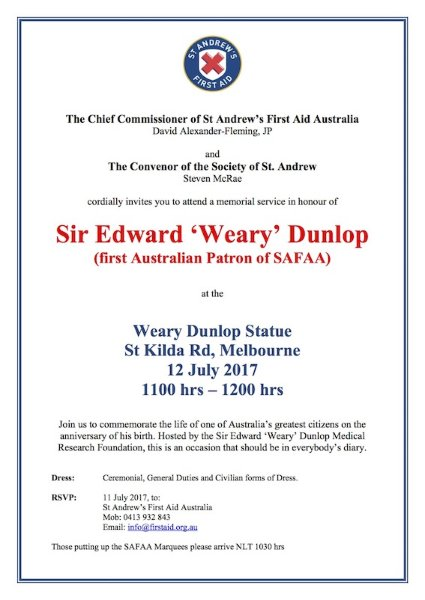 Weary Dunlop Day invitation 2017