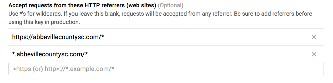 Google Maps API restriction