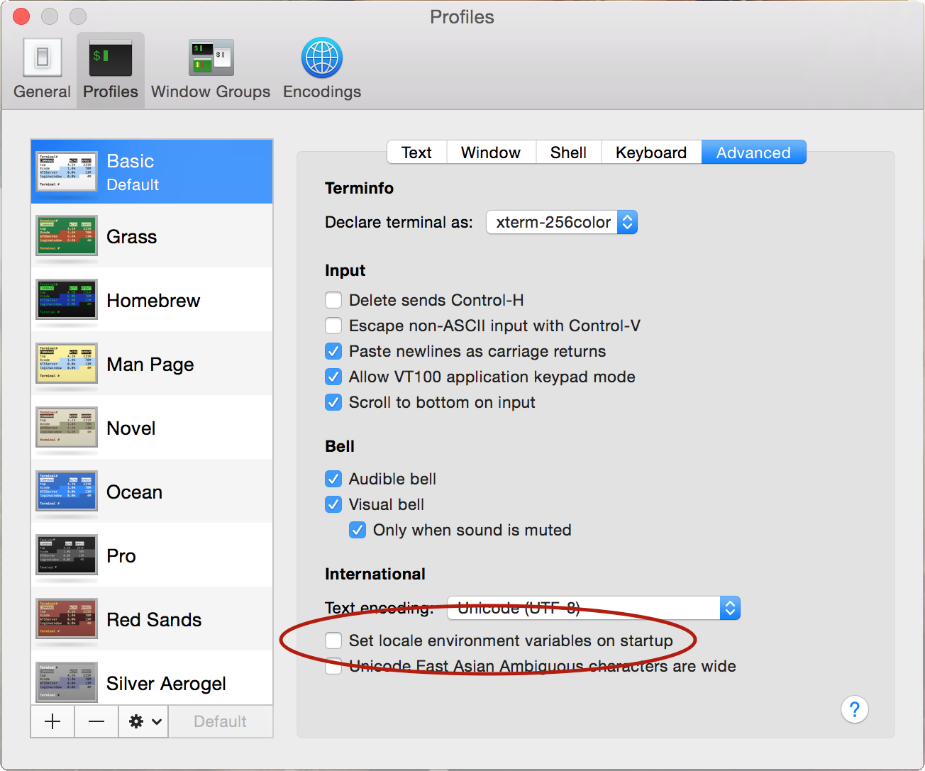 OS X Terminal advanced settings