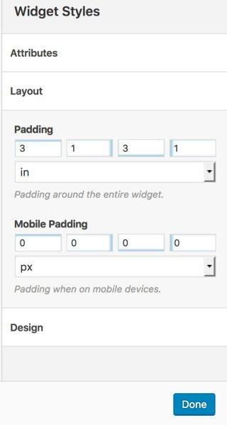 Widget padding on mobile